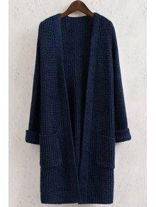 Buy Solid Color Pocket Long Sleeve Collarless Cardigan - PURPLISH BLUE S