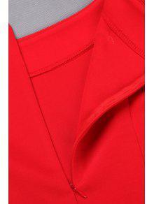 c79b125c26 36% OFF] 2019 Black Slash Neck Long Sleeve A Line Dress In RED | ZAFUL