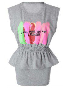 Color Block Letter Print T-Shirt + Solid Color Skirt - Light Gray L