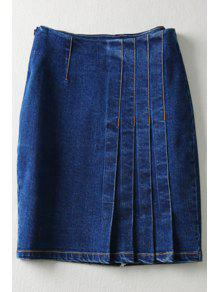Buy Pure Color High Waisted Denim Skirt - DEEP BLUE L