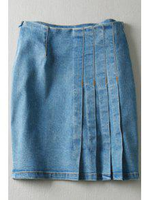 Buy Pure Color High Waisted Denim Skirt - LIGHT BLUE L