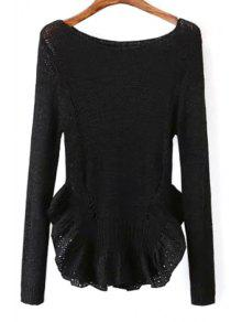 Scoop Neck See-Through Flounce Splicing Sweater - Black