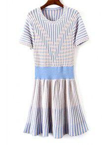 Blue White Stripe Short Sleeve Dress - Light Blue
