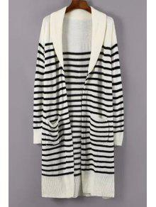 Turn-Down Collar White Black Stripe Cardigan - White