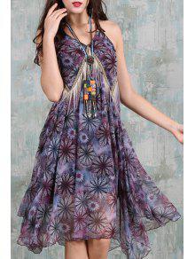 Spaghetti Strap Floral Asymmetric Chiffon Dress - Purple S