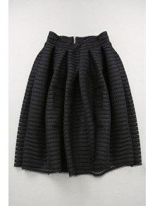 Buy Hollow High Waisted Line Skirt - BLACK S