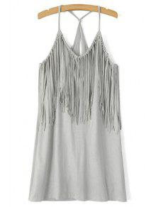 Spaghetti Strap Fringe Splicing Faux Suede Dress - Gray S