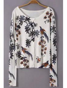 Scoop Neck Floral Bird Pattern Cardigan - White M