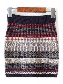 Buy Color Block Stripe Skirt - COLORMIX S