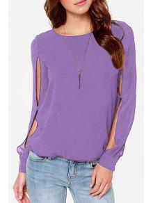 Jewel Neck Solid Color Slit Long Sleeve Shirt - Violet Xl