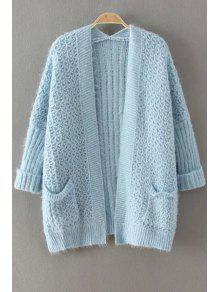 Collarless Solid Color Pocket Cardigan - BLUE ONE SIZE(FIT SIZE XS TO M)