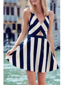 V Neck Stripe Hollow Out Sleeveless Dress - Blue And White S