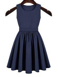 Solid Color Cut Out Button Dress - Blue Xl