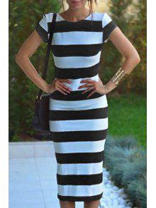 Striped Short Sleeve Backless Pencil Dress - White And Black S