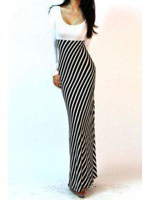 Long Sleeve Spliced Stripes Maxi Dress - White And Black S