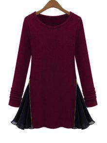Long Sleeve Zipper Chiffon Spliced T-Shirt - Wine Red M