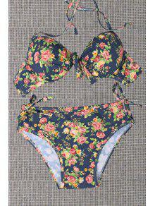 Tiny Floral Print Halterneck Bikini Set - Red L