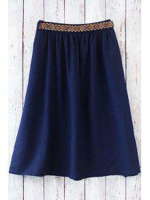Buy Solid Color Embroidery Belt Skirt - DEEP BLUE ONE SIZE(FIT SIZE XS TO M)