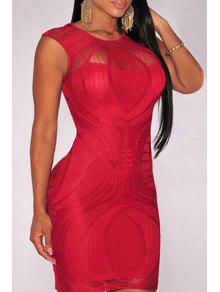 Openwork Lace Hook Bodycon Dress - Red