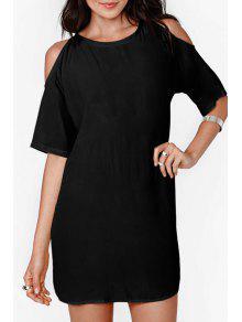 Solid Color Cut Out Chiffon Dress - Black M