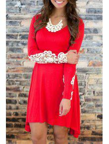 Buy Scoop Neck White Lace Splicing Long Sleeve Dress - RED S
