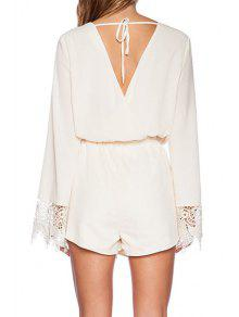 6437bc56afd 20% OFF  2019 White Plunging Neck Long Sleeve Playsuit In WHITE