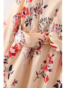 76c8d98f7b1b 26% OFF] 2019 3/4 Sleeve Floral Chiffon Tunic Dress In BEIGE   ZAFUL