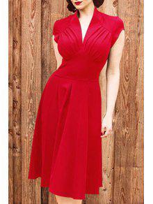 Solid Color V Neck Short Sleeve Midi Dress - Red S