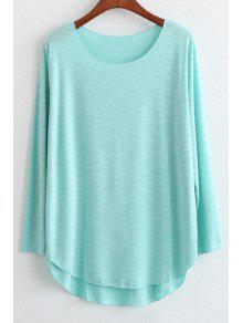 Candy Color High Low Long Sleeve T-Shirt - Light Blue