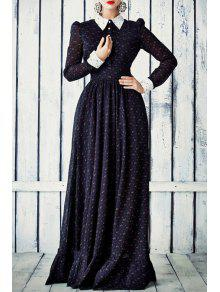 Long Sleeve Tiny Floral Print Maxi Dress - Deep Blue S