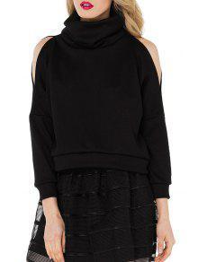 Buy Heaps Collar Cut Loose Black Sweatshirt - BLACK S