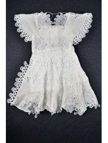 Hollow Out Lace Splicing Short Sleeve Dress - White M