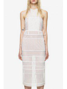 Round Neck See-Through Stripe Sleeveless Dress - White M
