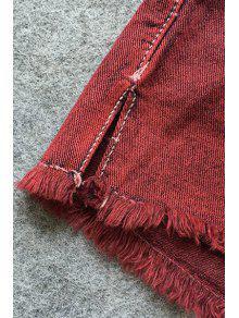 0a61bb07e6 Broken Hole Pocket Red Denim Shorts