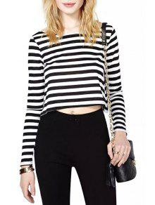 Buy Stripes Scoop Collar Long Sleeve Crop Top - WHITE AND BLACK XL