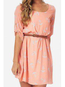 Anchor Print Half Sleeve Dress - Pink S