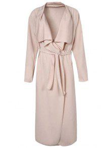 Turn-Down Collar Solid Color Asymmetrical Trench Coat - Apricot 2xl
