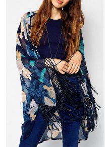 Floral Collarless Long Sleeve Kimono - M