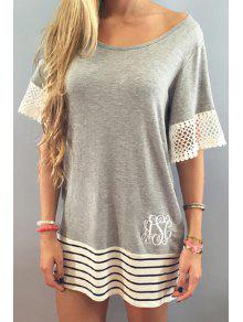 Buy White Lace Splicing Short Sleeve T-Shirt - GRAY S