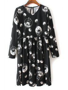 Buy V Neck White Floral Print Long Sleeve Dress - BLACK XL