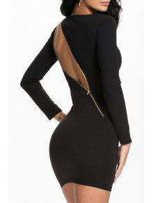 Black Long Sleeve Zipper Bodycon Dress - Black Xl