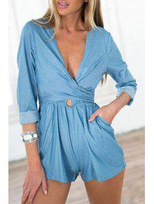 Buy Blue Plunging Neck Long Sleeve Playsuit - BLUE L