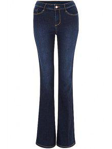 Blue Faded Flared Jeans - Deep Blue S