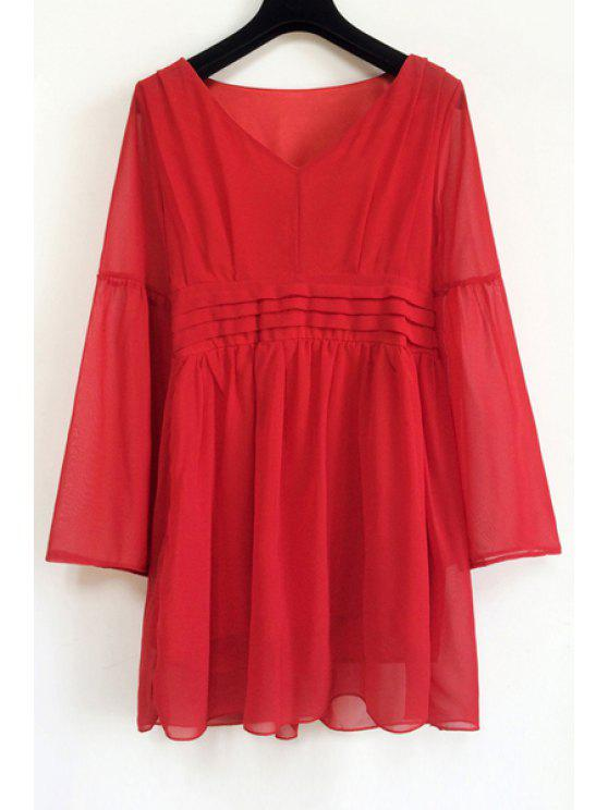 fancy V Neck Red Ruffle Long Sleeve Dress - RED ONE SIZE(FIT SIZE XS TO M)