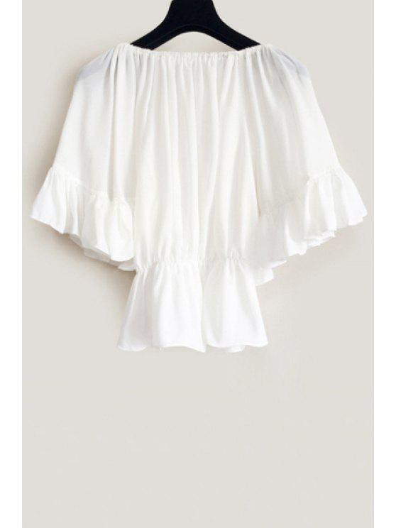 fancy Slash Neck Solid Color Flounce Half Sleeve Blouse - WHITE ONE SIZE(FIT SIZE XS TO M)