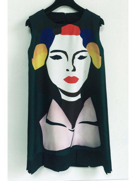 unique Figure Printed Sleeveless Dress - BLACK S