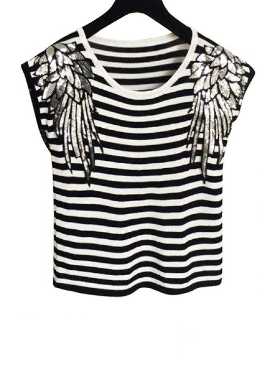 fashion Scoop Neck Wing Pattern Sequin T-Shirt - WHITE AND BLACK ONE SIZE(FIT SIZE XS TO M)
