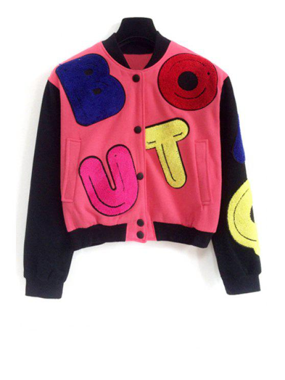 ladies Colorful Letter Pattern Long Sleeve Jacket - RED ONE SIZE(FIT SIZE XS TO M)