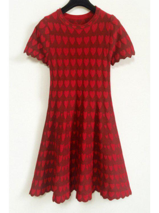 lady Heart Pattern Short Sleeve Dress - RED ONE SIZE(FIT SIZE XS TO M)
