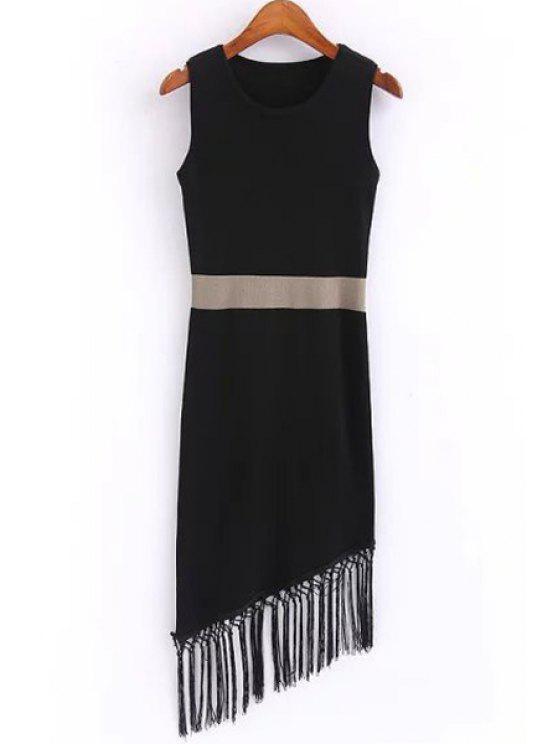 buy Tassels Asymmetric Sweater Dress - BLACK ONE SIZE(FIT SIZE XS TO M)